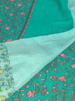 Chinon Sozan Work Saree Turquoise