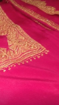Tila Work Chinnon Saree-DEEP PINK